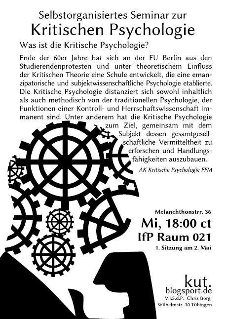 Kritische Psychologie Ankündigungsflyer Teil 1