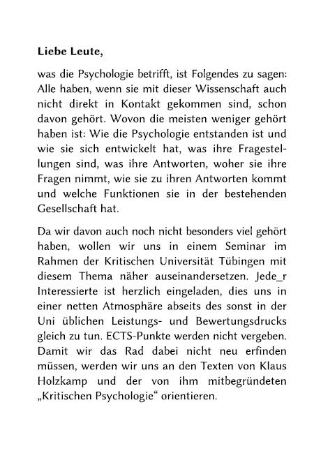 Kritische Psychologie Ankündigungsflyer Teil 2